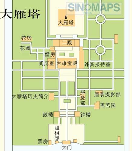 中国西安 大雁塔観光ガイド地図