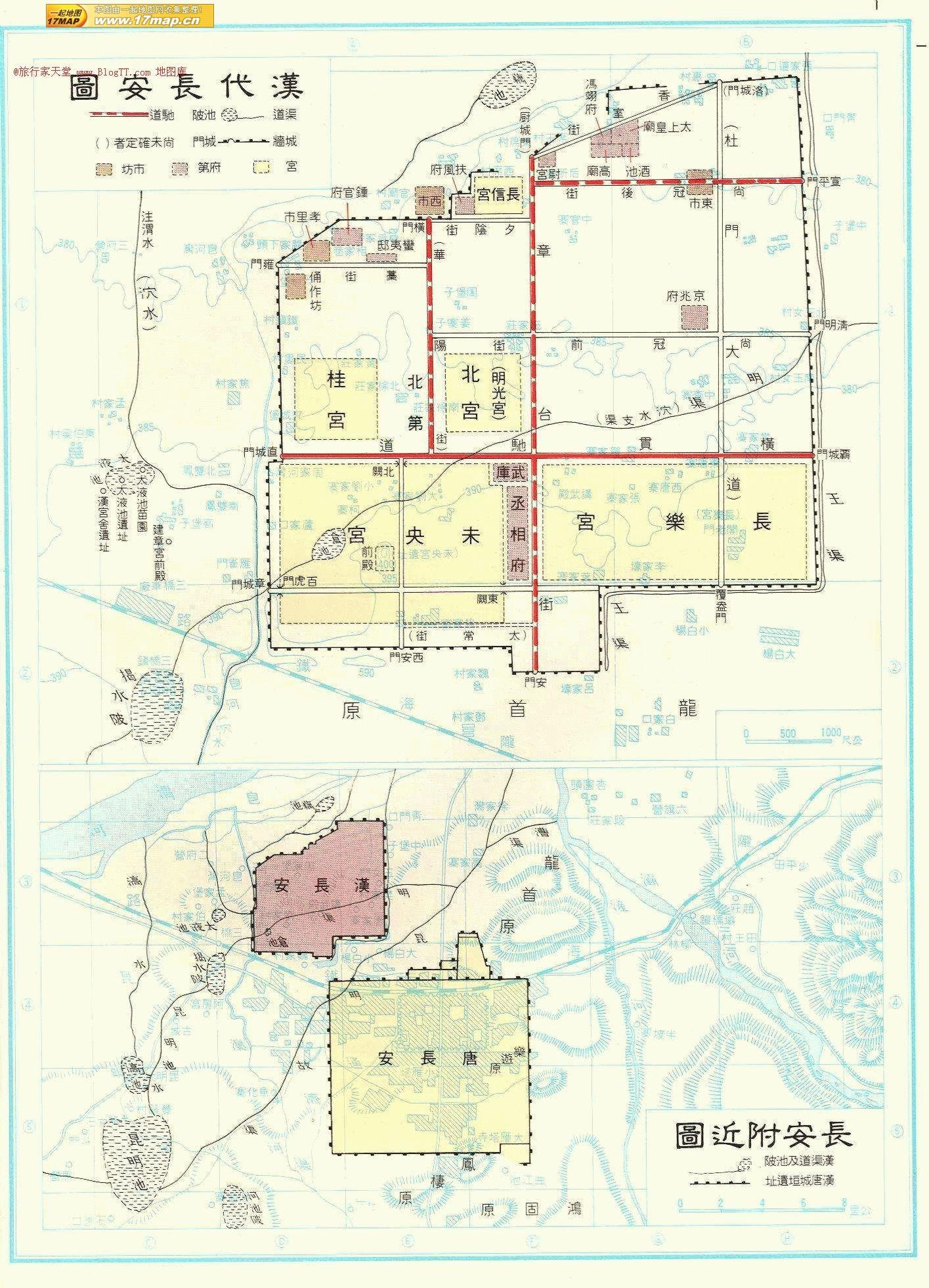 前漢時代の長安城地図