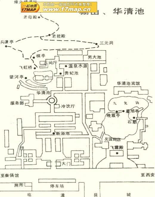 華清宮観光スポット案内地図