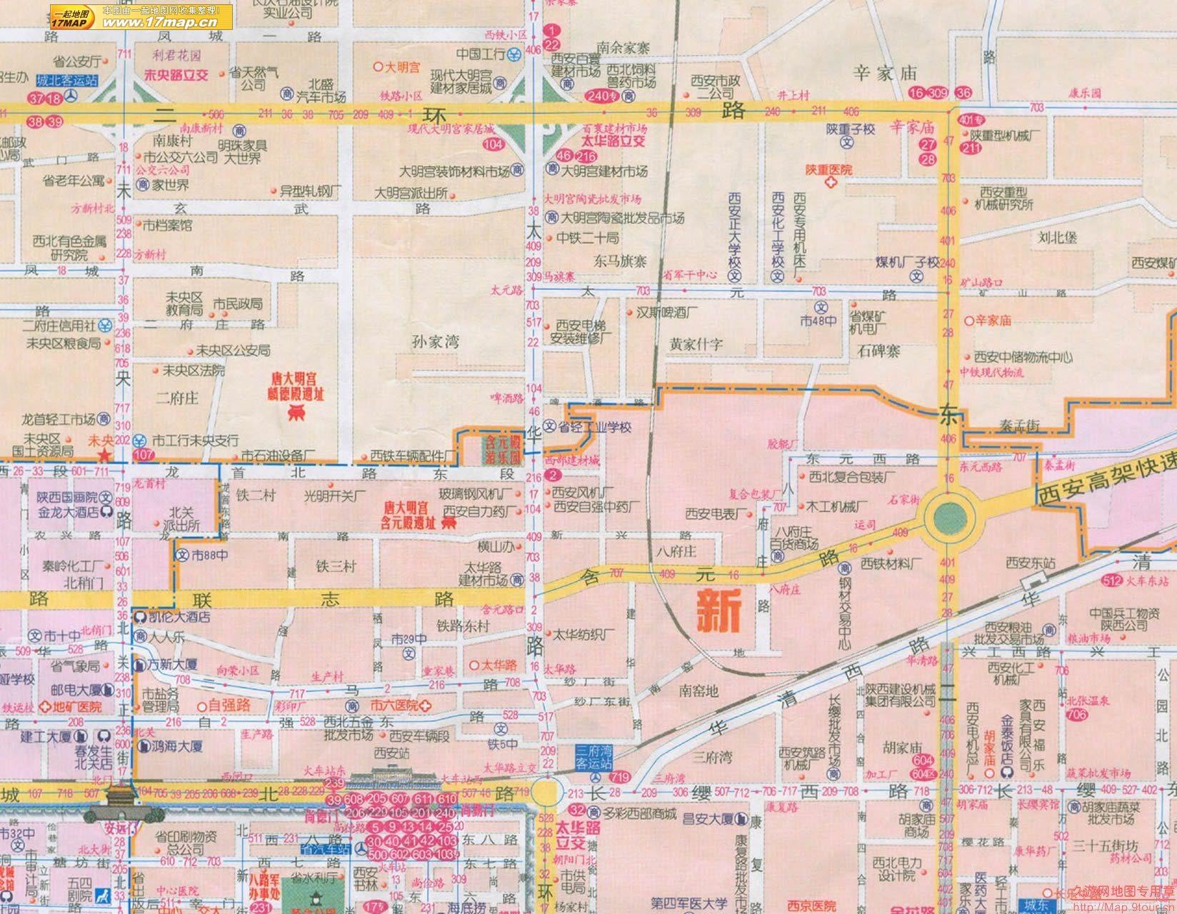 中国西安 駅辺りのガイド地図