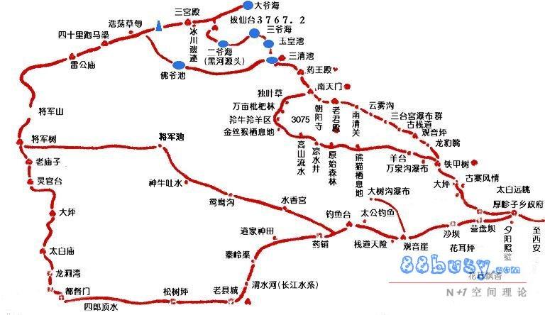 陝西省中国西安 太白山遊覧観光ガイド地図