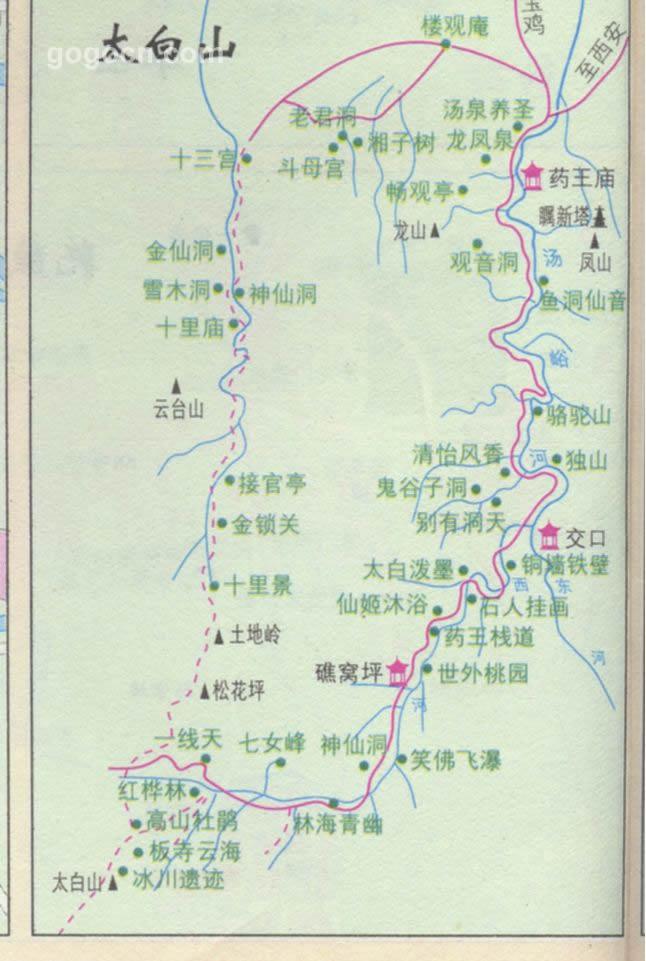 陝西省中国西安 太白山遊覧観光スポット案内地図