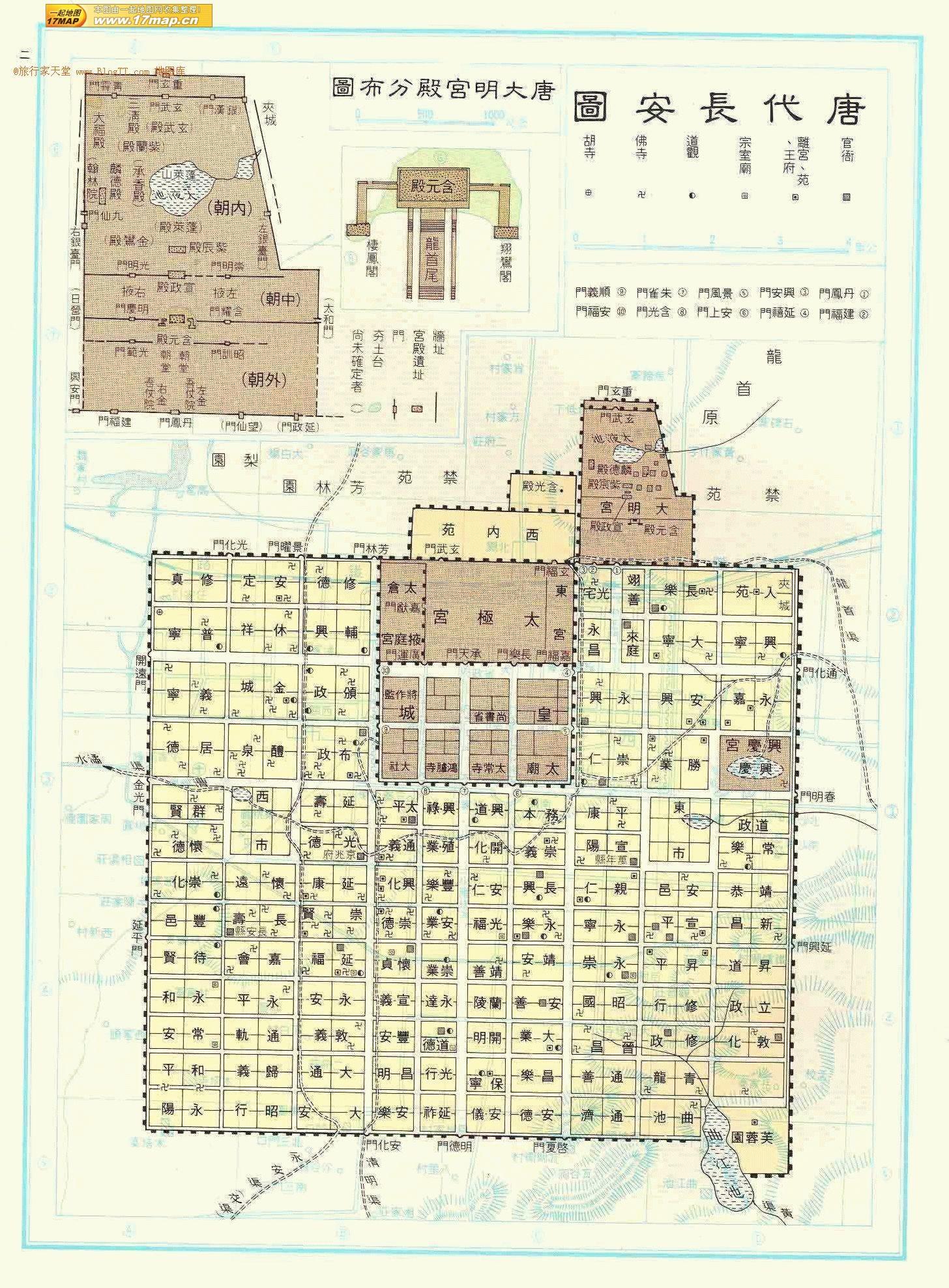 唐代の長安城地図