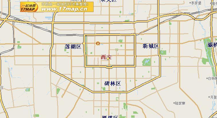 中国西安 市区略図