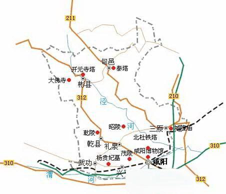 咸陽市観光スポット(観光地)分布ガイド地図