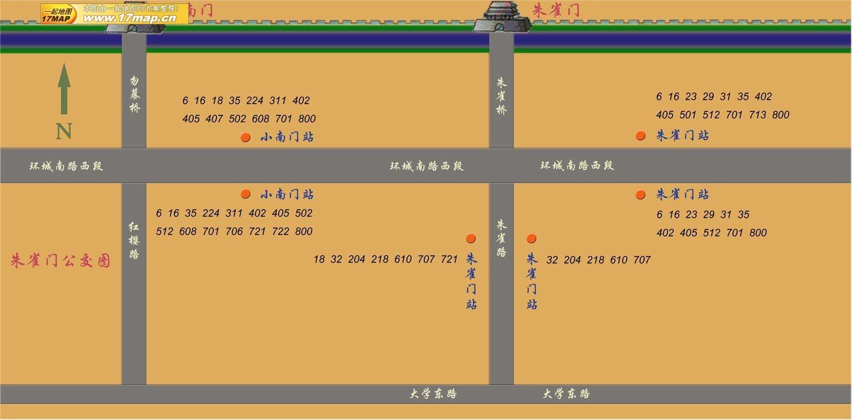 中国西安 朱雀門辺りの公共汽車停留場ガイド地図